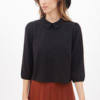 FOREVER 21 Boxy Split Collar Shirt Black
