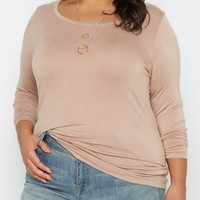 Plus Taupe Scoop Neck Top | Plus Long Sleeve | rue21