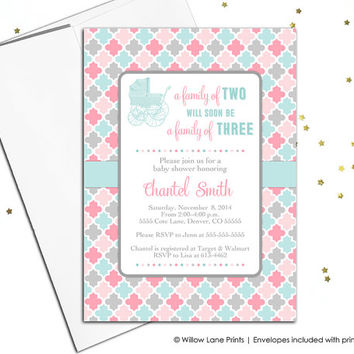 printable girl baby shower invitations - invite - vintage baby carriage - pink, gray, aqua - digital - printed (796)