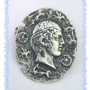 George Shiebler  ~ Sterling Silver Greek Etruscan Profile Petroglyphs Brooch