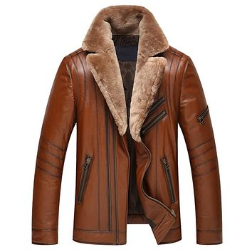 Men's Genuine Leather Down Jacket Wool Collar Sheep Leather Jacket Winter Coat Sheepskin Down jackets Men