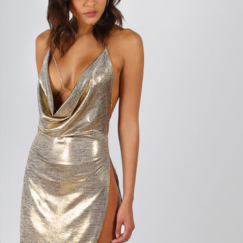 Backless Metallic Plunge Cowl Dress GOLD | MakeMeChic.COM