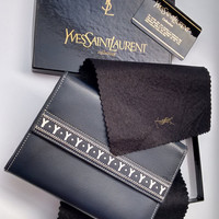 YSL Yves Saint Laurent Vintage Navy Leather Wallet / Purse. New condition!