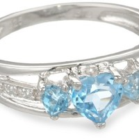 Three Heart Shape .018 Diamonds CTTW in Silver Blue Topaz Ring, Size 6
