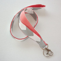 Lanyard ID Badge Holder - Gray zig zag chevron with Aqua or coral   - Lobster clasp and key ring - Teacher Appreciation Gift