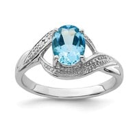 Sterling Silver Oval Light Swiss Blue Topaz & Diamond Ring