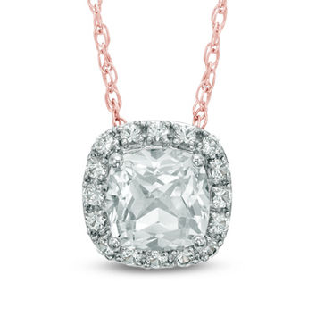 6.0mm Cushion-Cut Lab-Created White Sapphire Frame Pendant in Sterling Silver with 14K Rose Gold Plate