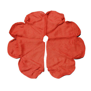 Burlap Tree Skirt Round Ruched Edge, Red, 42-inch