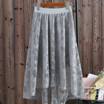 Casual Elastic Waist Lace High-Low Flared Maxi Skirt