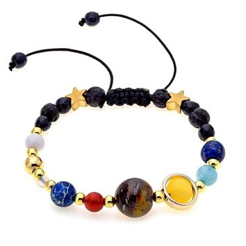 Natural Stone Beads Guardian Star 8 Planets Bracelet Bangle