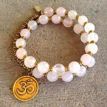 Healing, Faceted Pink Quartz 27 Bead Wrap Mala Bracelet with Om Charm