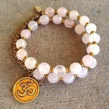 Healing, Faceted Rose Quartz 27 Bead Wrap Mala Bracelet with Om Charm