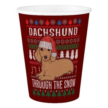 Dachshund Through The Snow Ugly Christmas Sweater Paper Cup