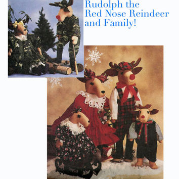 Rudolf the Red Nose Reindeer & Family Stuffed Dolls Clothes CHRISTMAS Winter DECOR 20 and 15 Inches McCalls 4532 UNCUT Craft Sewing Pattern