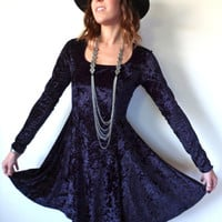 90's Long Sleeve Navy Velvet Dress // Vintage Grunge Stretch Crushed Velvet Mini