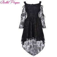 Vintage Gothic Victorian Women Lace Dress Long Sleeve High-Low Female Summer Autumn Club Party Lady Robe Mini Sexy Black Dresses