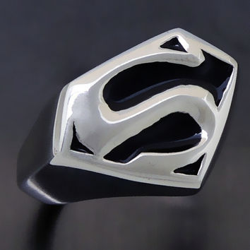Men's boys Superman Hero Stainless Steel Ring birthday gift Jewelry US Size 9, 10, 11, 12, 13 = 1946097988