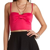 Sweetheart Bow-Front Crop Top by Charlotte Russe - Hot Pink