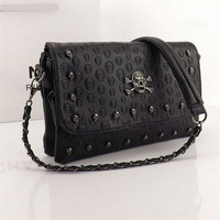 zl12021 Of female summer wild  Messenger  small bag rivet skull shoulder bag  Women Pu Leather Handbag Purse  Designer Hand Bags