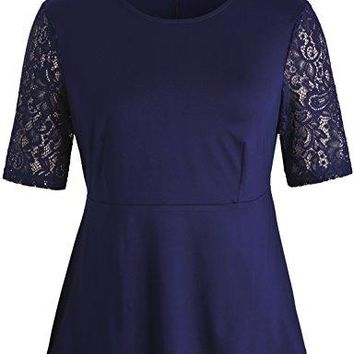 Chicwe Womens Plus Size Stretch Peplum Floral Lace Sleeves Top Blouse Casual and Work Top