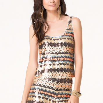 bebe Womens Sequin Tank Burnt Henna Multi