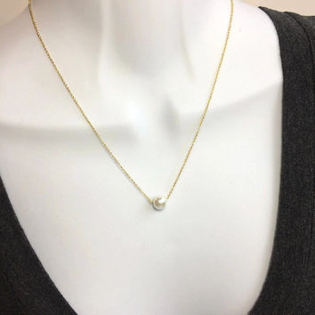 Pearl Necklace, Gold Pearl Necklace, Grandma Mom Sister Gift, Gift For Her, Mom Grandma Necklace, Gold Necklace, White Pearl Necklace