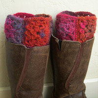 Multicolor Boot cuffs - Colorful legwarmers - Winter Fashion - Fall fashion 2013 - Boot toppers - red boot cuffs - Granny square