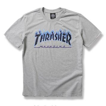 Thrasher Trending Casual  Women Men Fashion Casual Shirt Top Tee Grey G