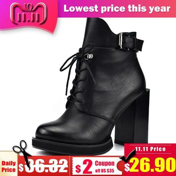 Odetina New Fashion Lace Up Women Boots Square High Heels 10cm Side Zip Buckle Strap Women Ankle Boots Autumn Winter Plush Shoes