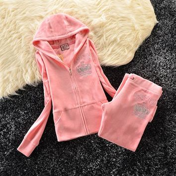 Juicy Couture Studded Bright Crown Velour Tracksuit 31059 2pcs Women Suits Light Pink