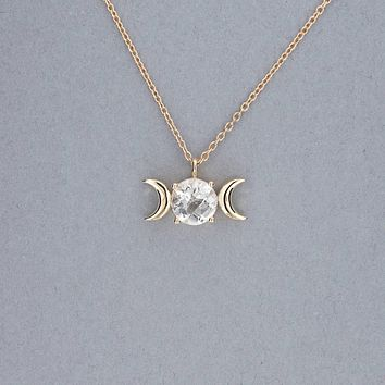 Triple Moon Goddess Necklace-Solid 14k Gold with Crystal Quartz