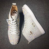 DCCK Cl Christian Louboutin Louis Spikes Mid Style #1809 Sneakers Fashion Shoes