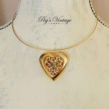 Beautiful Filigree Hollow Heart Choker, Gold Tone Pendent Necklace, Wire Choker Up Cycled Vintage