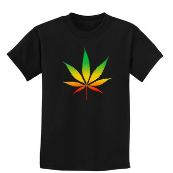 Marijuana Leaf  Rastafarian Colors Childrens Dark T-Shirt