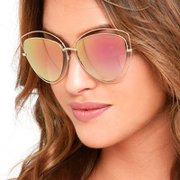 Melinda Gold and Pink Mirrored Sunglasses