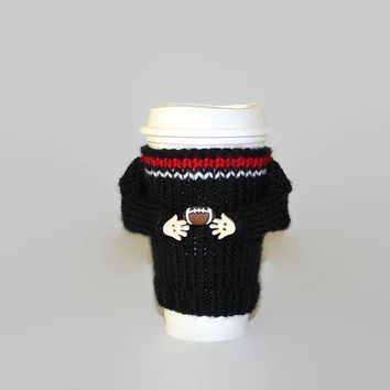 Black red football coffee sleeve. Football party The big game. Coffee cozy. Football jersey. Coffee cozy. Travel mug sleeve. Coworker gift.