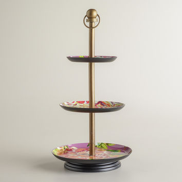 Purple Enamel 3-Tiered Jewelry Stand - World Market