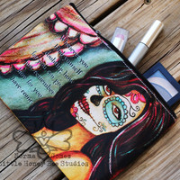 Cosmetic Bag - Dia De Los Muertos Makeup Bag - Sugar Skull Zippered Pouch