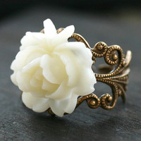 Victorian Purity White Rose Cocktail Ring by robinhoodcouture