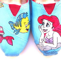 The Little Mermaid - TOMS shoes hand painted by Fruitful Feet Little Mermaid inspired