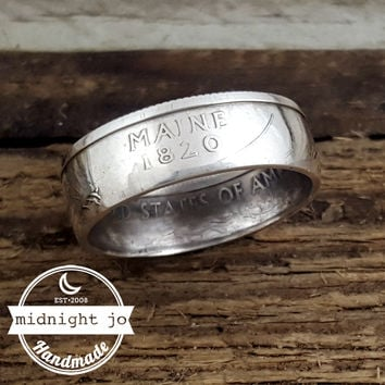 Maine 90% Silver State Quarter Coin Ring