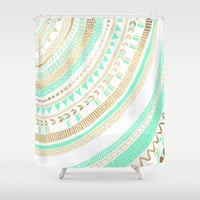 Mint + Gold Tribal Shower Curtain by Tangerine-Tane