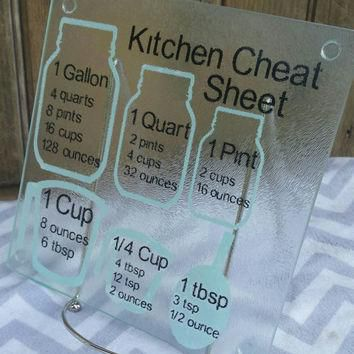 Cooking measurement conversions cutting board, kitchen cheat sheet, decorative glass