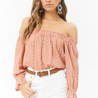Floral Embroidered Off-the-Shoulder Eyelet Top