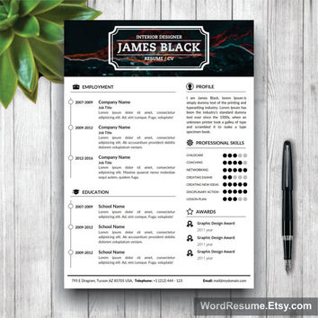"Unisex Resume Template and Cover Letter + Portfolio Template for Word | DIY Printable | ""James Black"" 