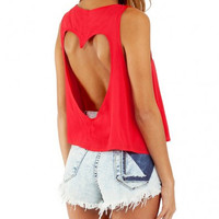 Red Sleeveless Heart Shape Cut-Out Crop Top