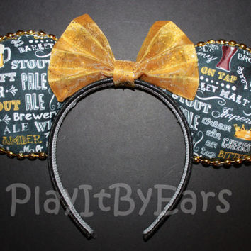 "Handmade ""Novelty- Beer Words"" Food/Wine Festival Custom Mouse Ears inspired by Disney"