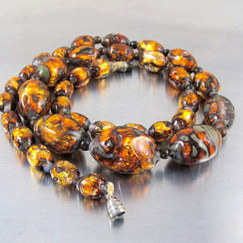 Venetian Foil Glass Bead Necklace, Art Deco. Graduated Fire Opal Art Glass Oval Beads, 1920s Art Glass Jewelry