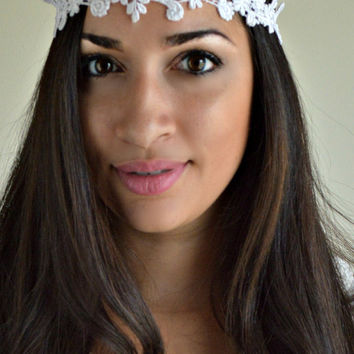 White Lace headband, Hippie Boho Headband