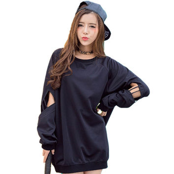 Hollow Black Sweatshirt Cool women hoodies sweatshirts Casual personalized cutout Gothic Clothes disfraces adultos